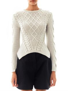 Carven Sculpted Cable-knit Sweater in Gray (grey) | Lyst