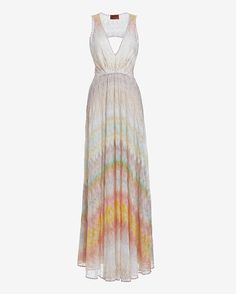 Missoni Cut Out Back Knit Gown: At the very top of our wish-list is this beyond stunning signature knit Missoni gown. V neckline. Open back. Pleated at elasticated empire waistline. Hidden snap closures at back. Lined. In pink. Fabric: 100% rayon Lining: 97% silk/3% elastane Model ...