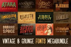 Mega Bundle of 48 Vintage, Grunge Fonts - only $19!