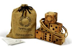 Snake Eyes Yard Dice™ – The Game is the same as Snake Eyes Yard Dice with the addition of a 3 foot diameter rope ring. Handmade of solid wood to last for years with branded pips and a rich finish. Six