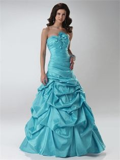 Strapless Ball Gown With Bow Ruffled Taffeta Prom Dress PD10468 Sale Online