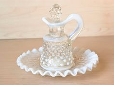 Vintage Fenton Opalescent Hobnail Cruet with Glass by TheWildWorld, $24.99