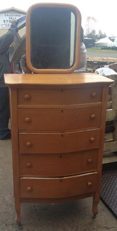 Antique 1920 S 30 S Birdseye Maple Mirrored Dresser Vanity
