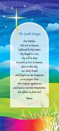 """The Lord's Prayer - artwork by Rachel Mabey. poster available as part of a set of four: A4 £12.00 + VAT, A3 £15.00 + VAT; set of four also available as banners £440.00 + VAT or rigid foamex boards £345.00 + VAT, size: 52"""" x 24"""" /132 x 60cm for both banners and boards."""