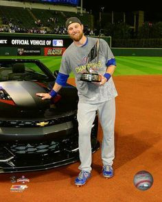 Ben Zobrist with the World Series MVP Trophy Game 7 of the 2016 World Series Photo Print x Mvp Trophy, Ben Zobrist, Cubs Players, Cubs Win, Go Cubs Go, Chicago Cubs Baseball, Wrigley Field, Mlb Teams, Baseball Season