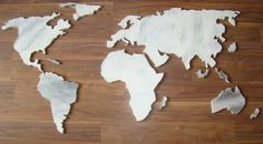 Antic Wooden World Map CUT thick Wood World World Map on Wood - Rustic Wall…