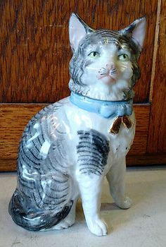 Unusual Antique German Porcelain Bisque Cat Figurine Fairing Vanity Jar