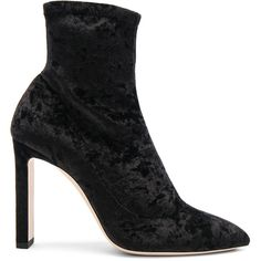 Jimmy Choo Crushed Stretch Velvet Louella Boots (43,370 DOP) ❤ liked on Polyvore featuring shoes, boots, ankle boots, jimmy choo shoes, ankle bootie boots, short high heel boots and leather sole boots