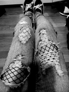 Black fishnet with ripped jeans