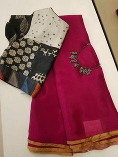 Discover thousands of images about Ekaa fashion Cotton Saree Blouse, Pattu Saree Blouse Designs, Blouse Designs Silk, Saree Dress, Sari Blouse, Blouse Patterns, Trendy Sarees, Fancy Sarees, Vestidos