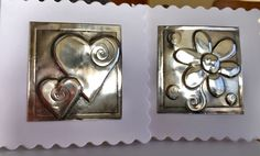 Pewter cards Aluminum Foil Art, Aluminum Crafts, Metal Crafts, Recycled Crafts, Pewter Art, Pewter Metal, Copper Metal, Tin Can Art, Tin Art