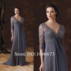 MB002 Elegant lace appliqued half sleeves chiffon mother of the bride dresses