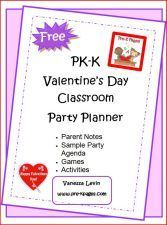 free Valentine's Day classroom party planner for grades PK-K via   www.pre-kpages.com/valentine/