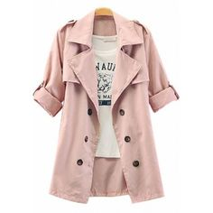 Women's Elegant Pure Color Double breast Trench Coat
