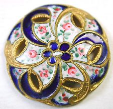 Antique French Enamel Button Pierced Cobalt & Hand Painted Roses Swirl Design