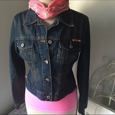 "Guess Dark Blue Distressed Lightweight Jean Jacket A jean jacket will always be a classic. Add to a number of outfits! Layer your look. Or add a maxi skirt and plain white tee! Voila. It is cute. 2 small flaws. One on left shoulder. And under button loop. See pic 4. No tag inside anymore. The measurements are 17"" chest. 20"" length. 16"" shoulder. 25"" sleeves. Guess Jackets & Coats Jean Jackets"
