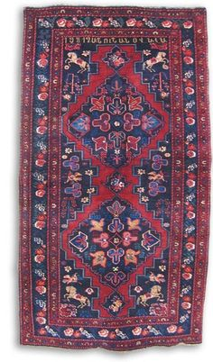 Inscribed Armenian rug, Karabagh, 1912