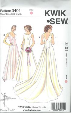 Kwik Sew 3401 Sewing Pattern Wedding Party Prom Bridesmaid Gown 2 Styles SL for sale online Unique Wedding Gowns, Designer Wedding Gowns, Wedding Dresses, Wedding Dress Sewing Patterns, Vintage Dress Patterns, Vintage Sewing, Kwik Sew Patterns, Mccalls Patterns, Bridal Tops