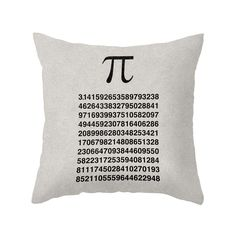 You'll be counting down to when this cool typography throw pillow graces your sofa. In stark black and white, it recounts digits of pi for a sleek look that will inspire nerdy admiration. Choose either...  Find the Have Some Pi Throw Pillow, as seen in the 24 Hour Clearance Sale: Day 3 Collection at http://dotandbo.com/collections/presidents-day-weekend-sale-2016-decor-clearance-day-3?utm_source=pinterest&utm_medium=organic&db_sku=104611