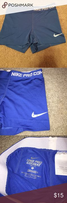 Blue Nike Pro Shorts Small Blue Nike Pro Combat Shorts. Dri-fit Nike Shorts