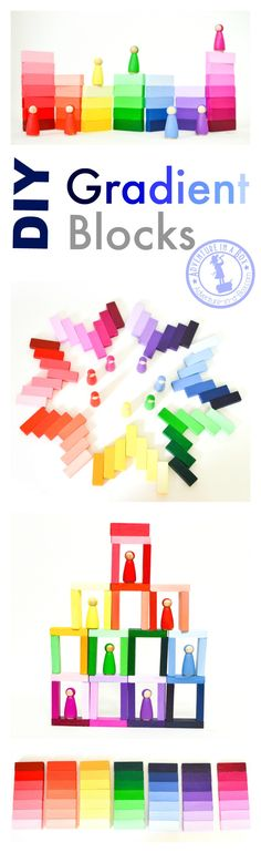 DIY Wooden Gradient Blocks DIY Handmade Wooden Gradient Blocks: Inspired by Montessori colour tablets, these colourful blocks are very easy to make and fun for kids to play with! Diy Handmade Toys, Diy Toys, Handmade Jewelry, Wooden Diy, Handmade Wooden, Diy For Kids, Crafts For Kids, Fun Crafts, Paper Crafts