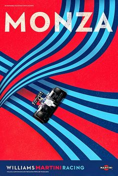 Williams Martini Racing poster for the Italian Grand Prix at Monza.  Williams F1 sensation Lance Stroll will start from the front row of the grid at the race, and he's only 18 years old. In June, Stroll became the youngest rookie to finish on the podium after placing third in the Azerbaijan Grand Prix. #F1 #Formula1 #ItalianGP #Monza #WilliamsMartini #LanceStroll
