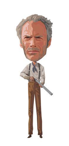 Clint: Unforgiven by Mitch Frey, via Behance Clint Eastwood, Eastwood Movies, Pop Culture, Star Wars, Author, Caricatures, Film, Celebrities, Illustration