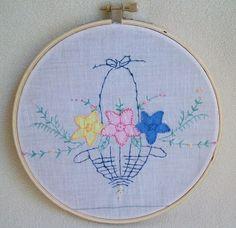 Retro Hoop Wall Art Vintage Embroidery Applique by sammysgrammy, $19.00