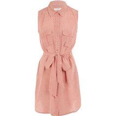 Equipment Coral Jody Print Sleeveless Silk Shirt Dress found on Polyvore
