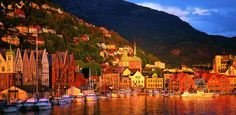 The sunset over Bergen Harbor (Bryggen Hanseatic Wharf), Norway
