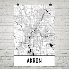 Akron Map Art Print, Akron OH Art Poster, Akron Wall Art, Akron Gift, Map of Akron, Akron Print, Akron Poster, Birthday, Decor, Modern, Art
