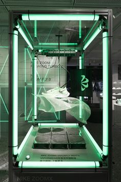 FAST PACK / NIKE HOUSE OF INNOVATION – COORDINATION ASIA 协调 Interactive Installation, Light Installation, Green Led Lights, Linear Lighting, Retail Concepts, Shoe Display, Retail Experience, Glass Floor, Cool Inventions