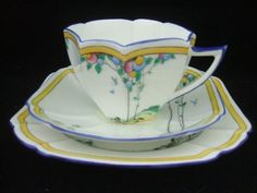 Shelley Queen Anne Balloon Tree Cup and Saucer Trio ~ Art Deco