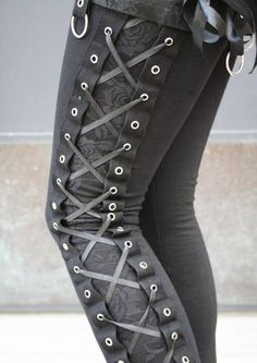 Lace up leggings with damask inset panels!