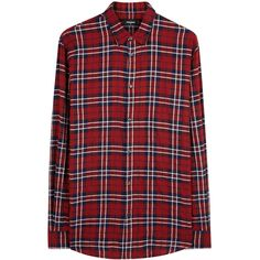 DSQUARED2 Red checked flannel shirt ($480) ❤ liked on Polyvore featuring men's fashion, men's clothing, men's shirts, men's casual shirts, mens checked shirts, mens checkered shirts, mens red checkered shirt, mens flannel shirts and mens red flannel shirt