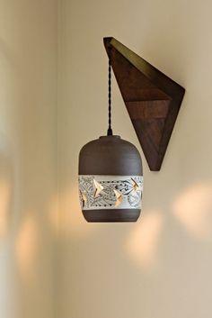 Ceramic pendant/sconce by Heather Levine