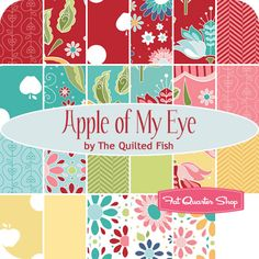 Apple of my eye by The Quilted Fish for Riley Blake. The apple and dot pattern is too cute! don't know about the others in the line. Due in April 2012