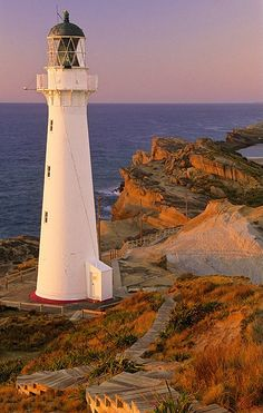 Castlepoint Lighthouse, Wairarapa Coast, extreme southern tip of North Island, East Coast, New Zealand