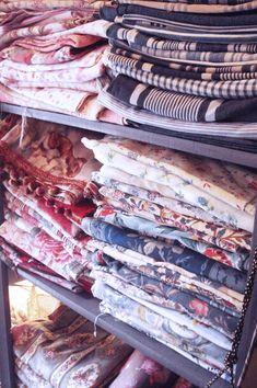 Stacks of vintage fabric at a Paris Flea Market Paris In October, Paris In Spring, Paris Travel, France Travel, Paris Flea Markets, Romantic Paris, Paris Shopping, French Fabric, I Love Paris