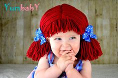 Raggedy Ann Hat - Short Pigtail Made with Thin yarn Clown Wig, Baby Girl Halloween Costumes, Toddler Costumes, Baby Costumes, Yarn Wig, Hair Yarn, Foto Props, Raggedy Ann Costume, Doll Wigs