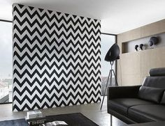 AS Creation Wallpaper - Metropolis Black White Zig Zag - 93943-1