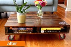 Great recycling of a pallett and adding industrial castors for a modern urban look! Pallet furniture on castors