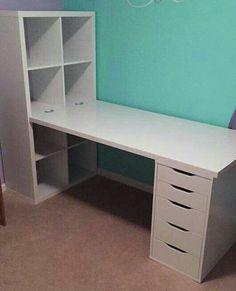 Ikea.  Similar, put computer below on left, and Ham radio equip. above left. Desk side in front of window,