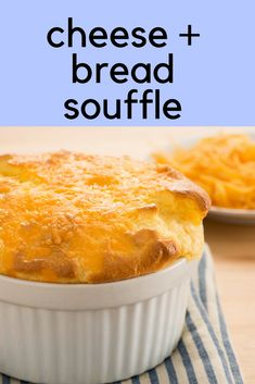 Light, fluffy, and cheesy. What could be better than this Bread and Cheese Soufflé? Egg Recipes, Baking Recipes, Cheese Souffle, Anna Olson, Souffle Recipes, Simple Meals, Egg Dish, Bariatric Recipes, Cheese Bread