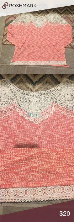 Filly flair size L crochet top like new Dark pink/redish color with white crochet/lace pattern. Size large 3/4 sleeve. Worn twice. Cleaning out my closet! Make me an offer! From Filly flare Tops Blouses