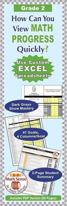 The columns for tracking progress turn dark gray to show mastery. View class progress on all 47 Grade 2 math goals. Please try the interactive Preview. ~by Angie Seltzer