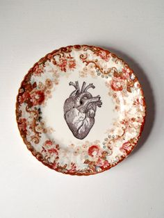 Vintage Anatomical Heart Plate