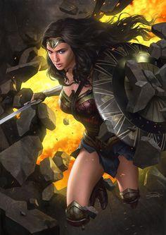 "batmannotes: "" Gal Gadot as Wonder Woman by Yin Yuming "" Wonder Woman Art, Superman Wonder Woman, Wonder Woman Kunst, Gal Gadot Wonder Woman, Wonder Women, Dc Comics Characters, Dc Comics Art, Movie Characters, Marvel Vs"