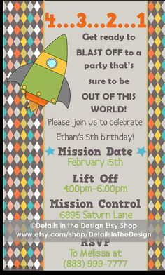 Outer Space Printable Party Invitation 4...3...2...1 Blast off to a party that sure to be OUT OF THIS WORLD!   Happy Birthday invitation for an outer space, rocket or solar sytem themed party.