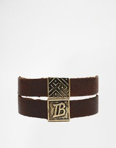 Bracelet by ICON BRAND Wrap-around design Real leather band Gold-tone details Press stud fastening 80% Real Leather, 20% Zinc Alloy
